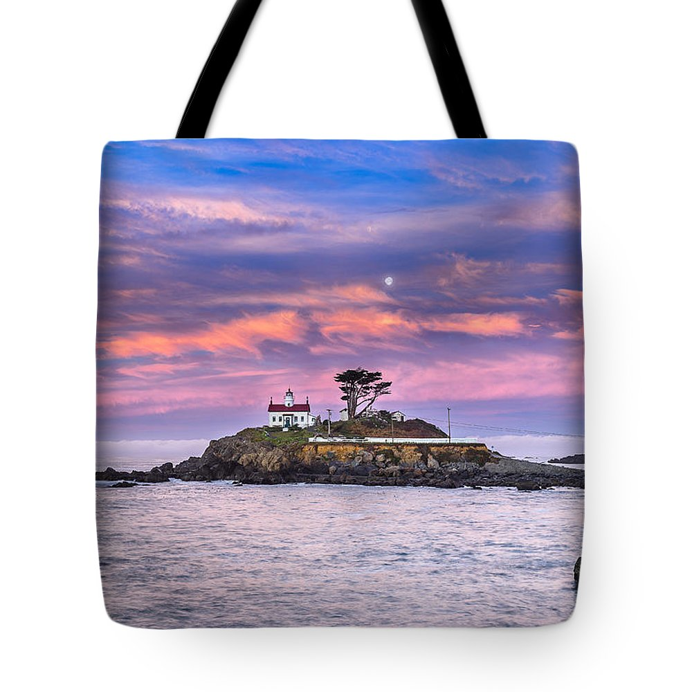 Dramatic Sky Tote Bag featuring the photograph Battery Point Lighthouse And Moon by Greg Nyquist