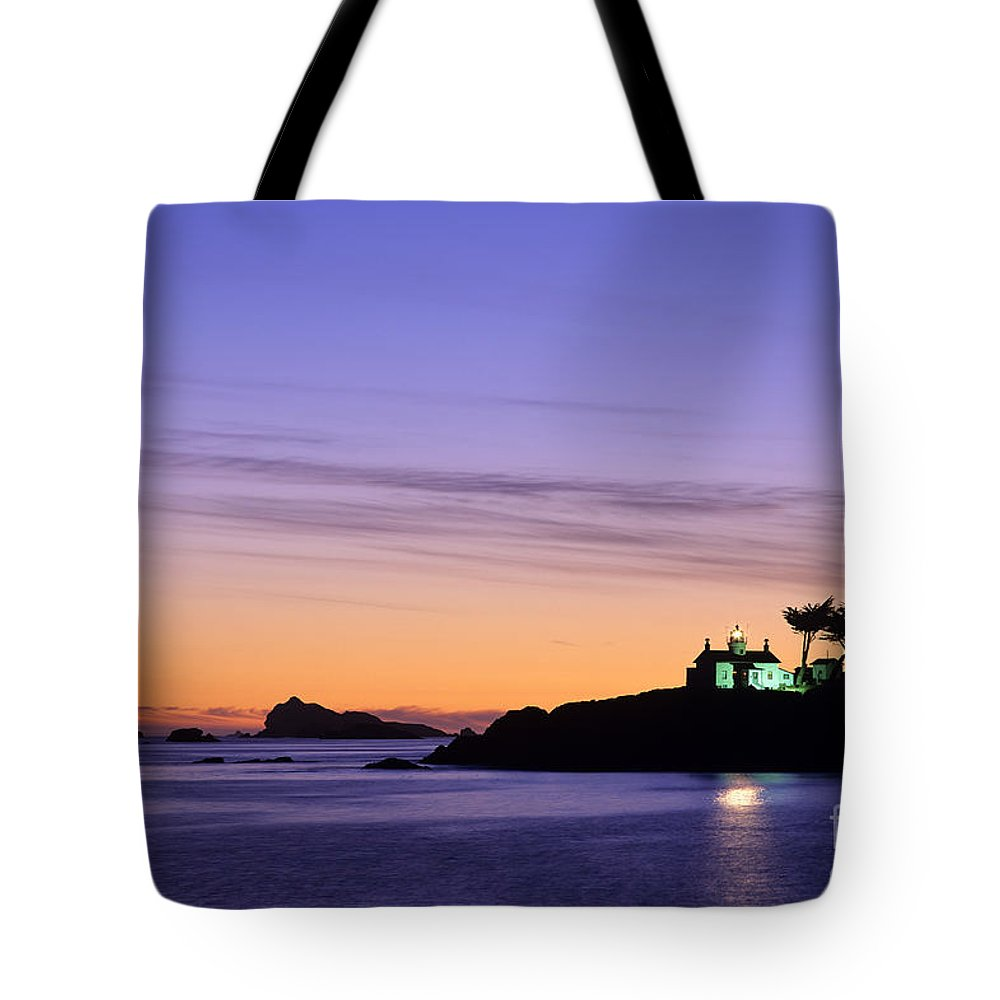 Landscape Tote Bag featuring the photograph Battery Point Lighthouse by Jim Corwin