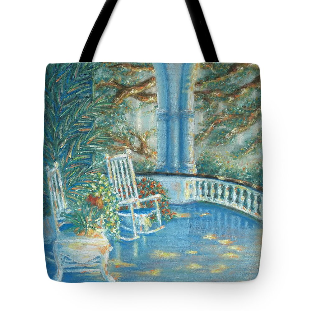 Charleston Tote Bag featuring the pastel Battery View At Sunset At Two Meeting Street Inn Of Charleston Sc by Pamela Poole
