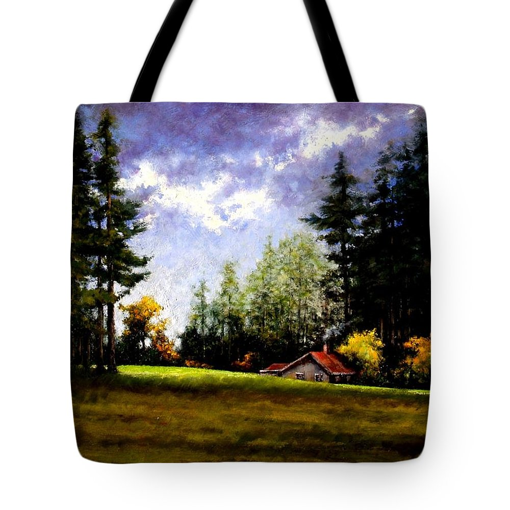 Landscape Tote Bag featuring the painting Battle Ground Park by Jim Gola