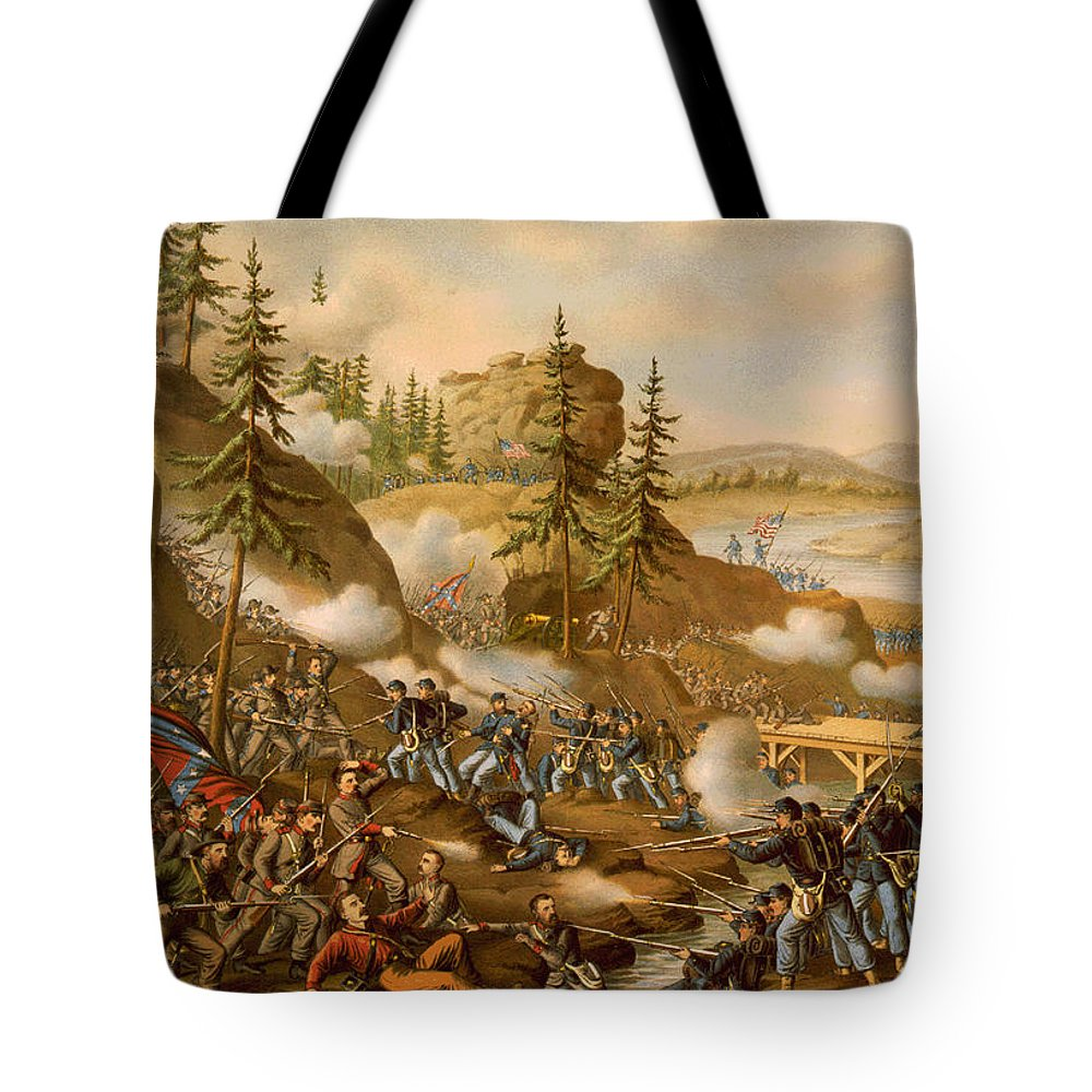Battle Of Missionary Ridge Tote Bag featuring the painting Battle Of Missionary Ridge by MotionAge Designs