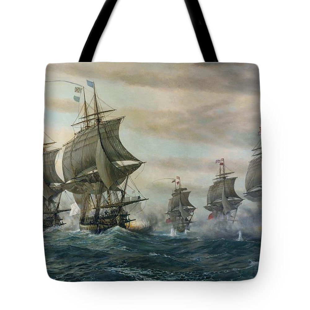Battle Of Virginia Capes Tote Bag featuring the painting Battle Of Virginia Capes by Celestial Images