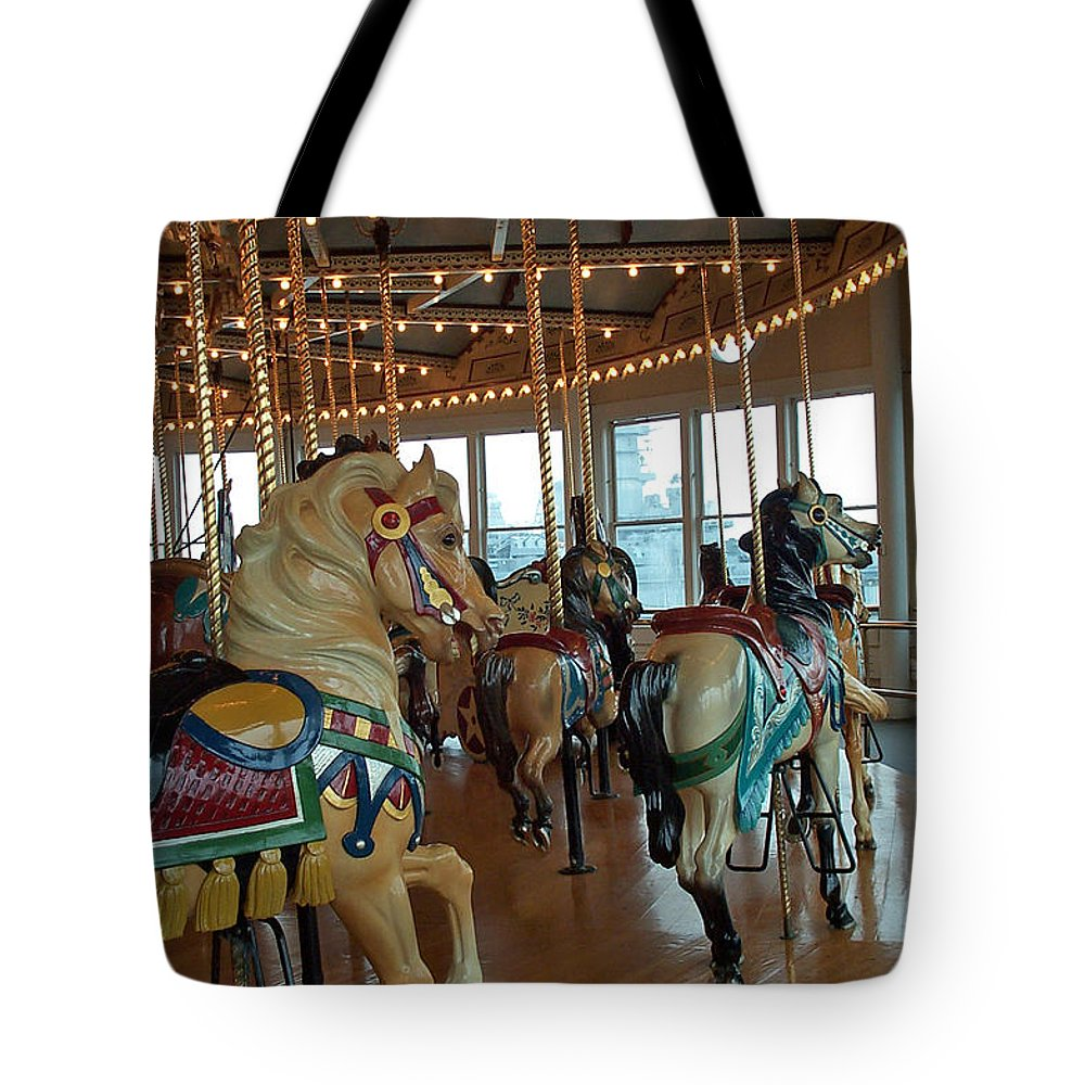 Carousel Tote Bag featuring the photograph Battle Ship Cove Carousel by Barbara McDevitt