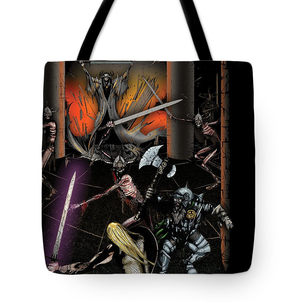 Usherwood Tote Bag featuring the digital art Battle With The Mage-king by James Kramer