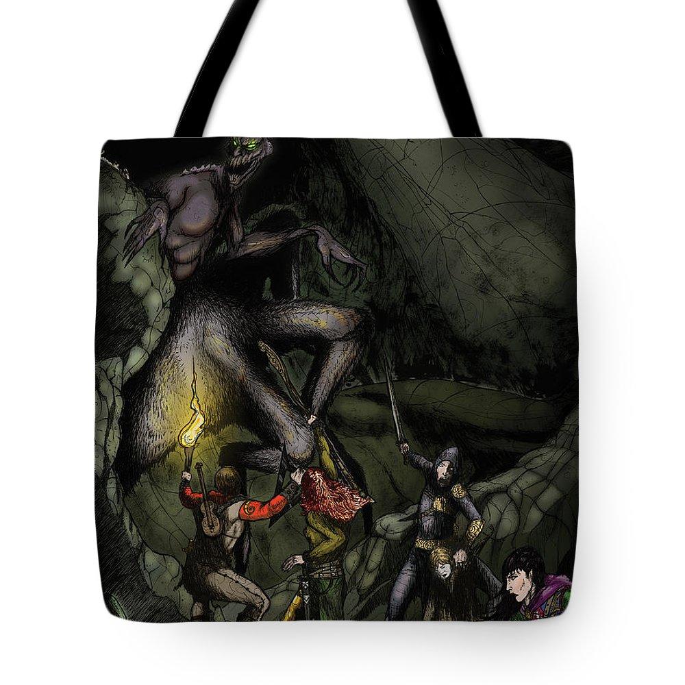 Usherwood Tote Bag featuring the digital art Battle With The Taratulamon King by James Kramer