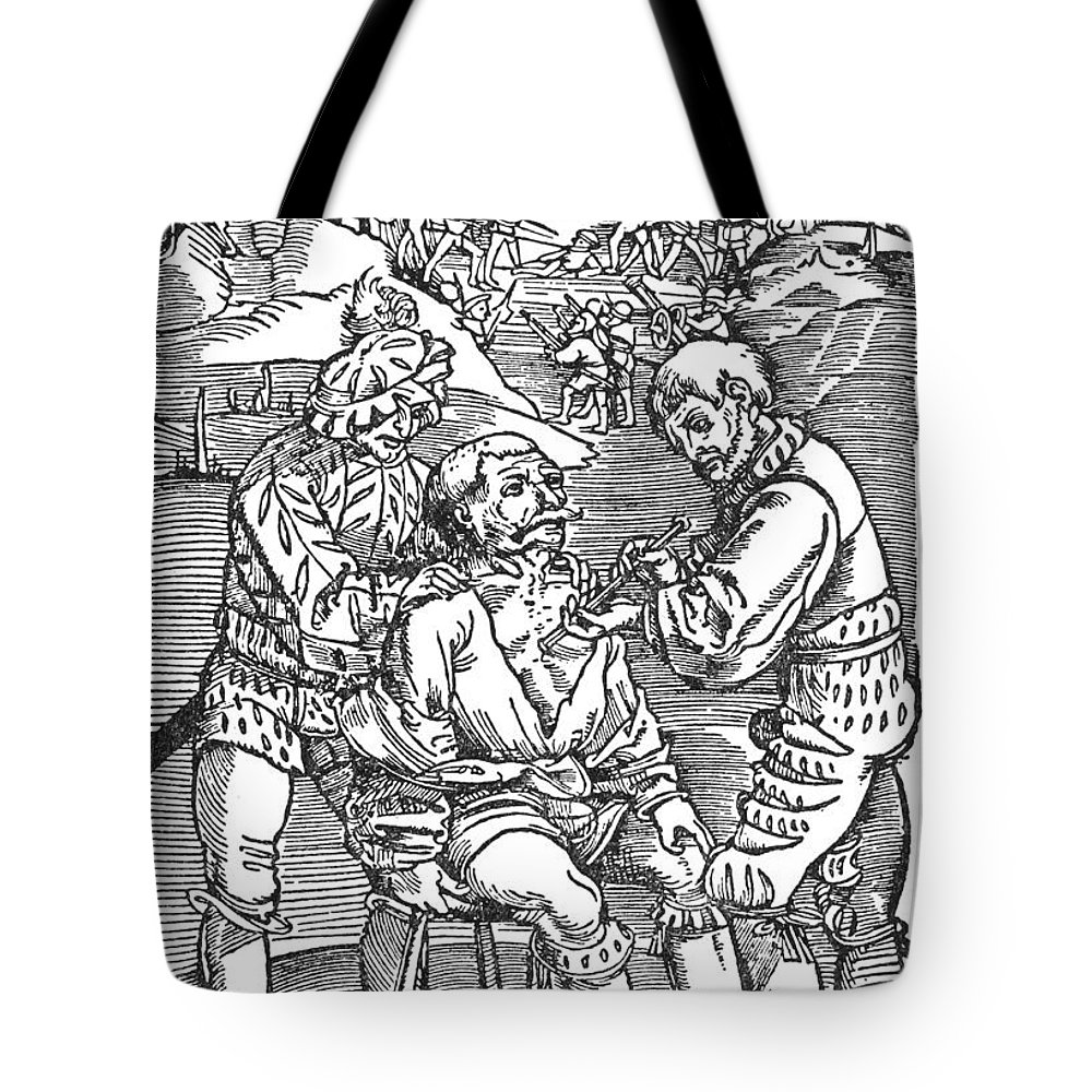 1540 Tote Bag featuring the photograph Battlefield Surgeon, 1540 by Granger