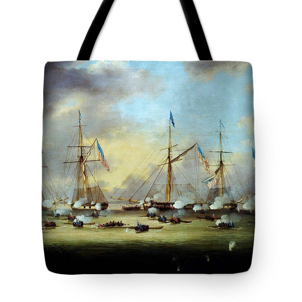 Battlelakeborgnehornbrook Tote Bag featuring the painting Battlelakeborgnehornbrook by MotionAge Designs