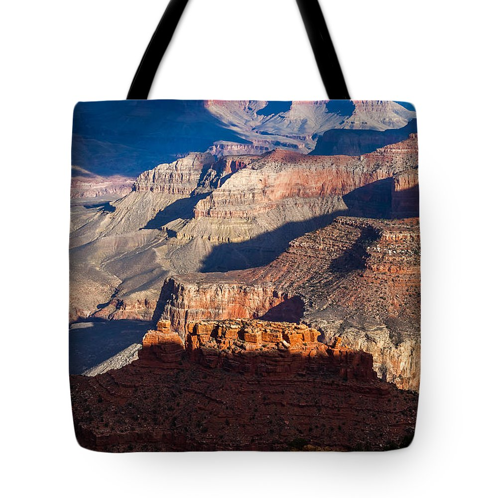 Arizona Tote Bag featuring the photograph Battleship Rock At The Grand Canyon by Ed Gleichman