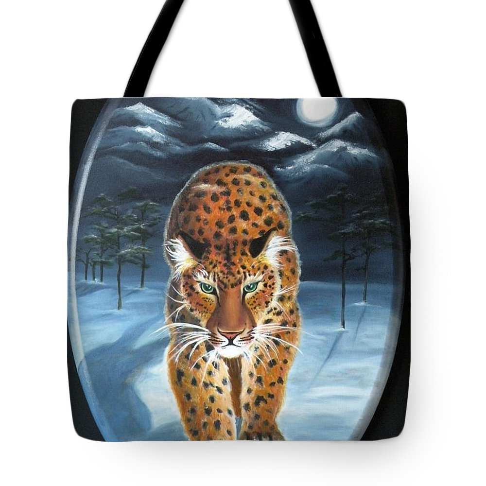 Snow Leopard Tote Bag featuring the painting Batukhan Snow Leopard by Lora Duguay