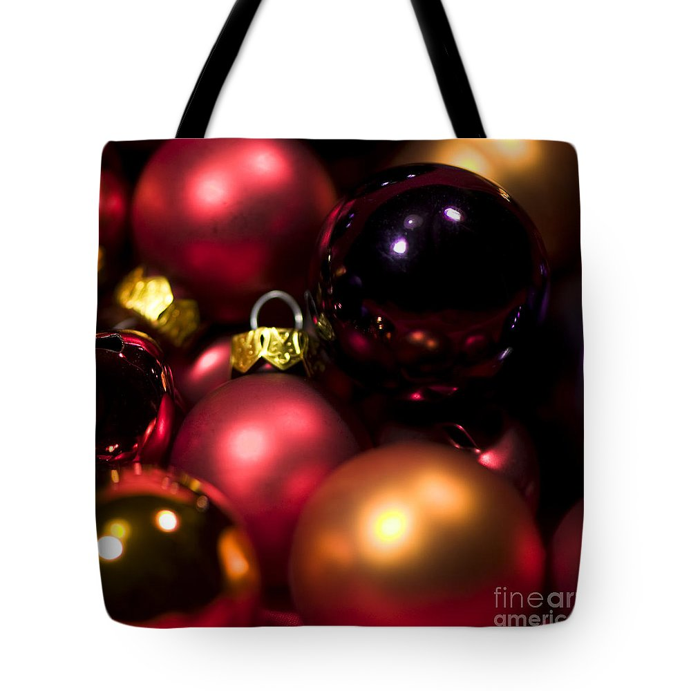 Abstract Baubles Tote Bag featuring the photograph Bauble Abstract by Anne Gilbert