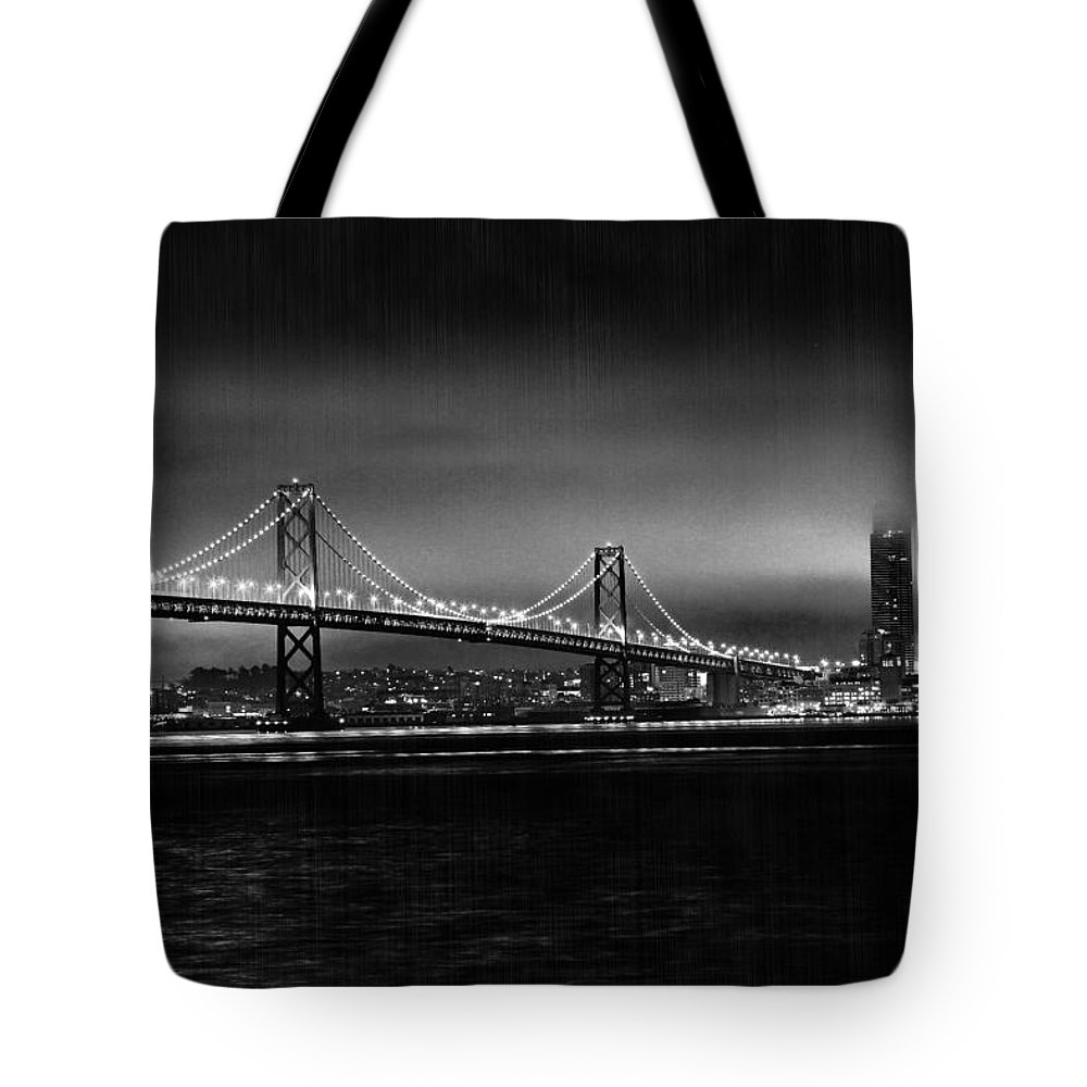 City By The Bay Tote Bag featuring the photograph Bay Bridge Blackout by Digital Kulprits