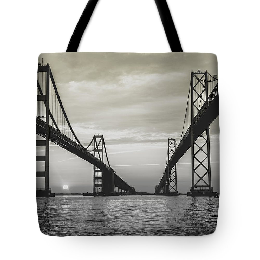 Sunrise Tote Bag featuring the photograph Bay Bridge Strong by Jennifer Casey