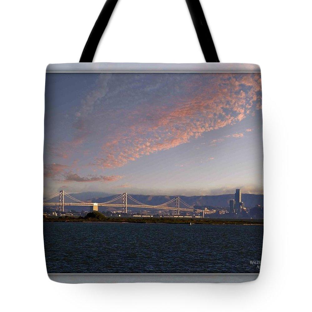 Bay Bridge Tote Bag featuring the photograph Bay Bridge by Walter Herrit