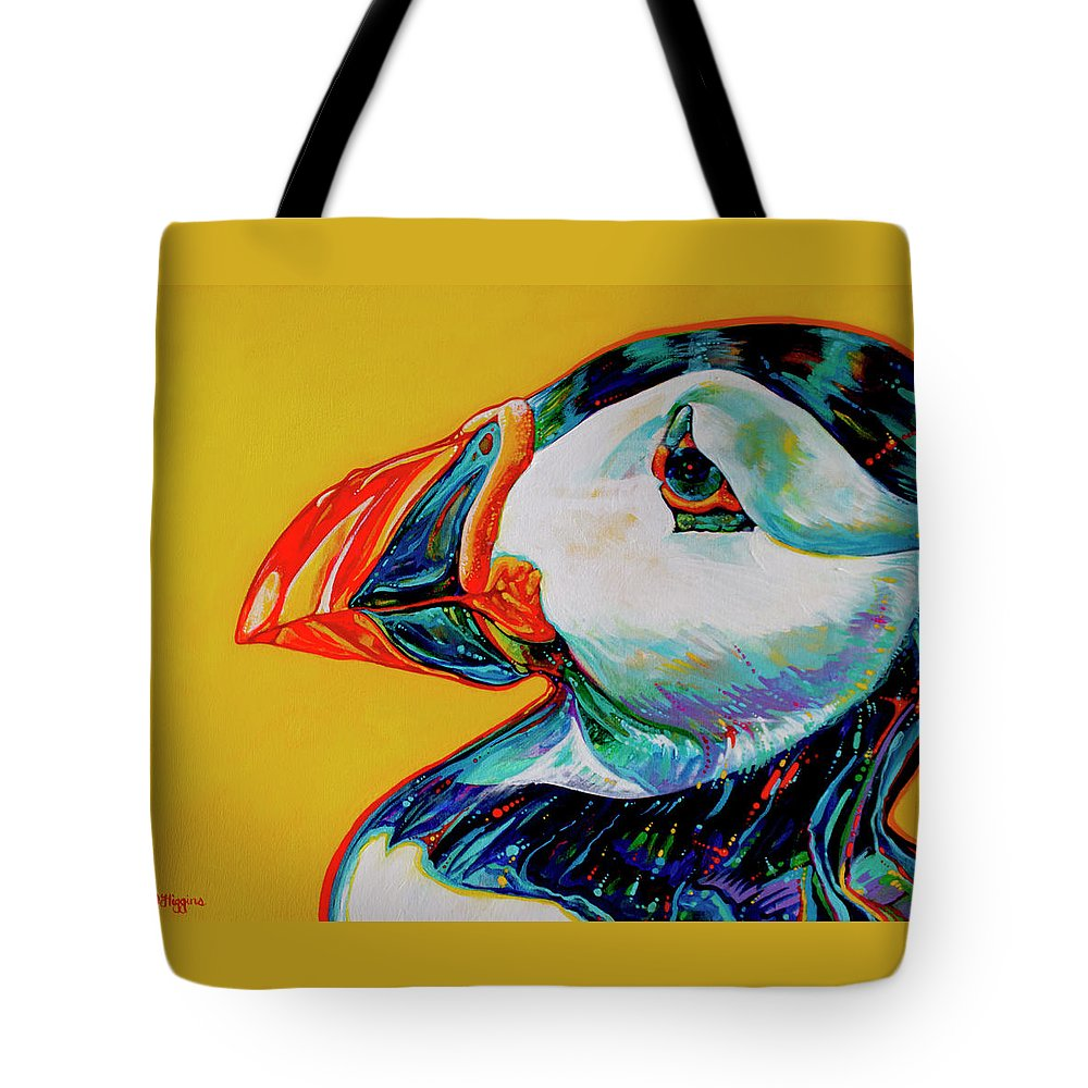 Animal Paintings Tote Bag featuring the painting Bay Bulls Puffin by Derrick Higgins