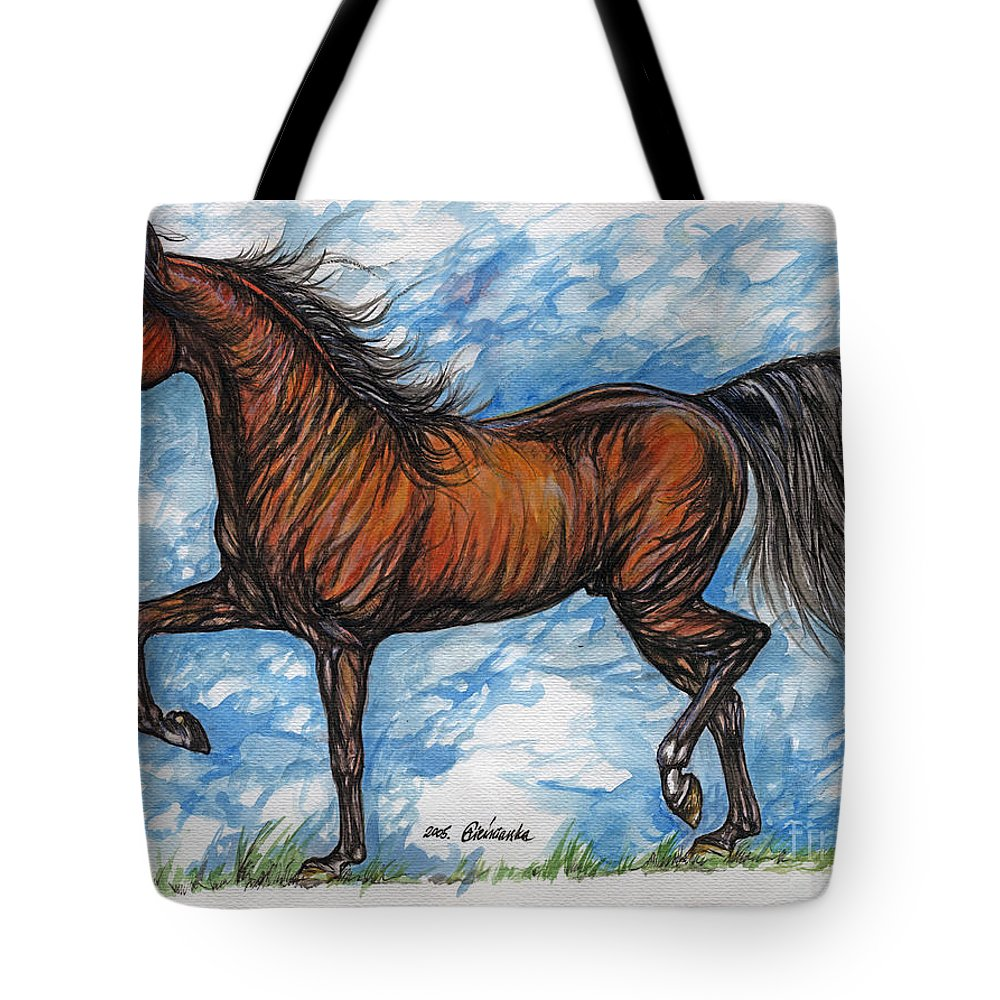 Psychodelic Tote Bag featuring the painting Bay Horse Running by Angel Ciesniarska