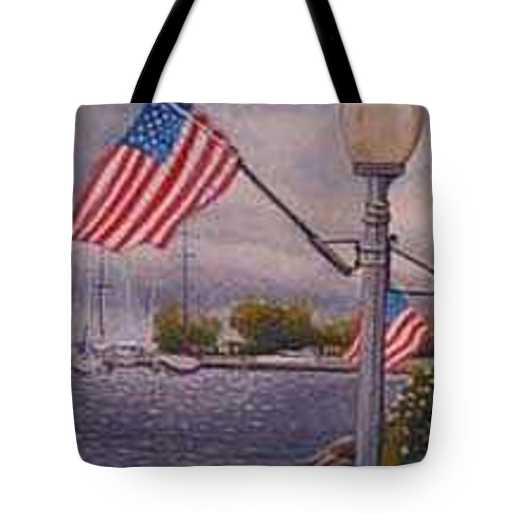 Rick Huotari Tote Bag featuring the painting Bayfield On The 4th by Rick Huotari