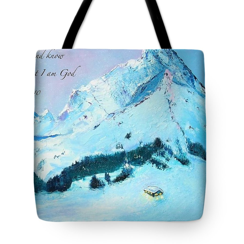 Scripture Tote Bag featuring the painting Be Still by Marie Clark