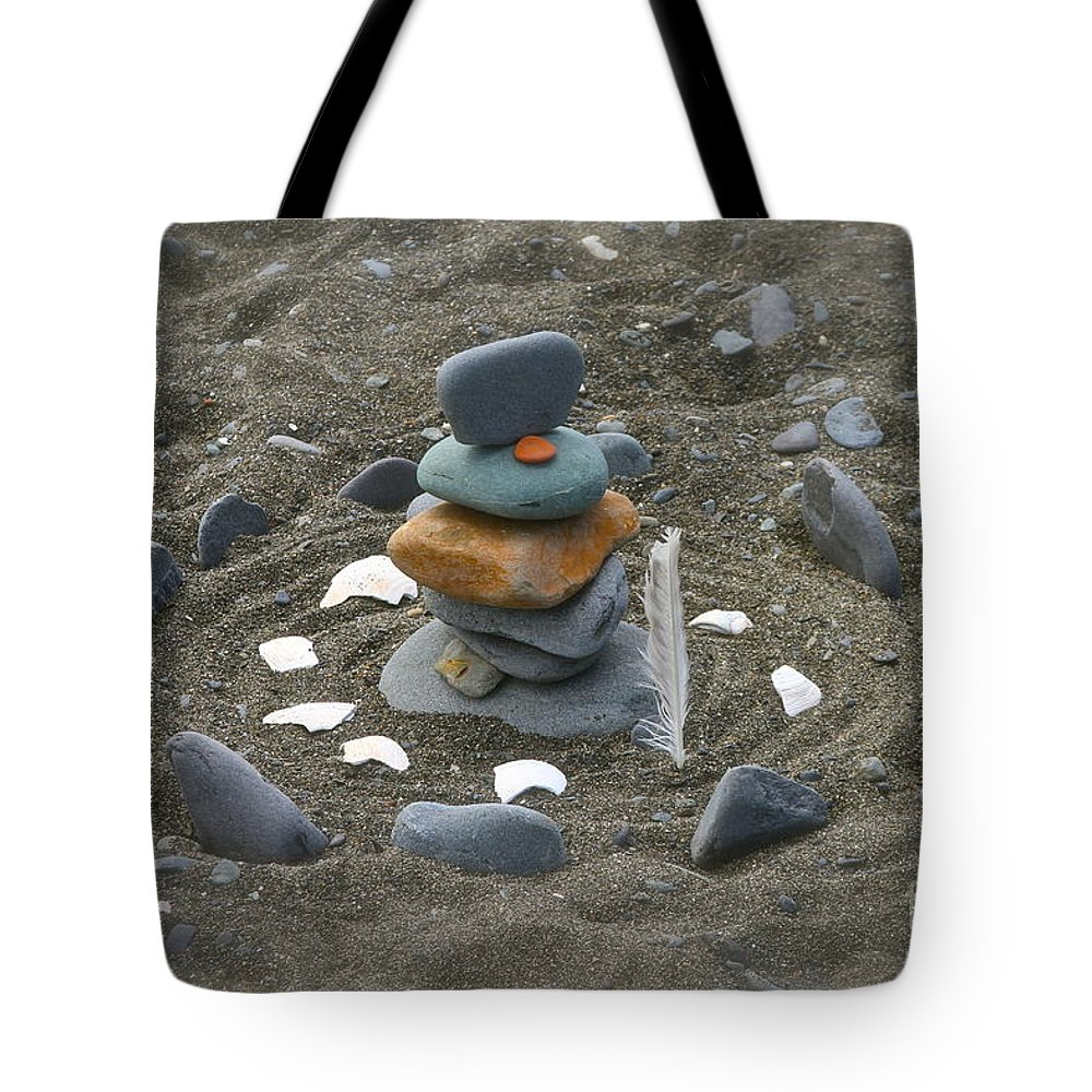 Rock Tote Bag featuring the photograph Beach Art by Rick Monyahan
