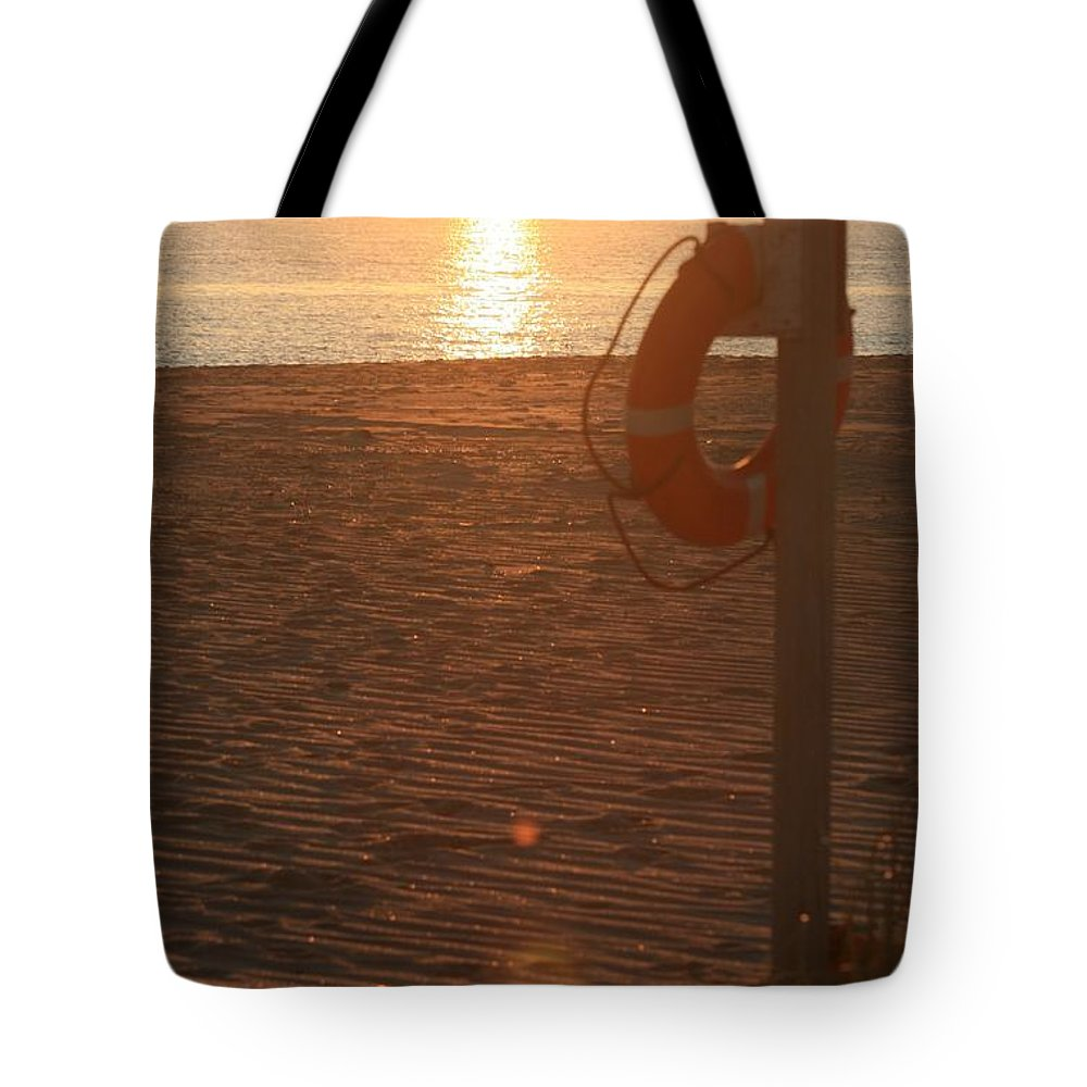 Beach Tote Bag featuring the photograph Beach At Sunset by Nadine Rippelmeyer