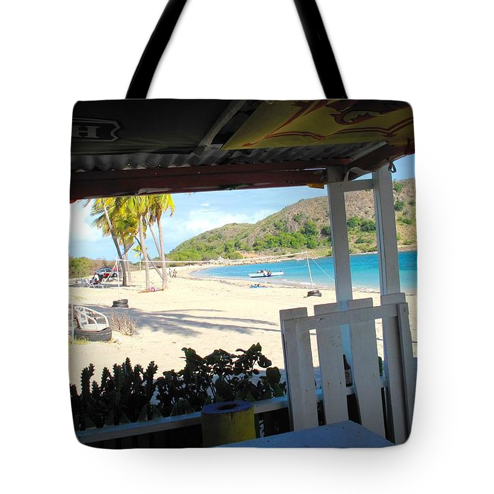 St Kitts Tote Bag featuring the photograph Beach Bar In January by Ian MacDonald