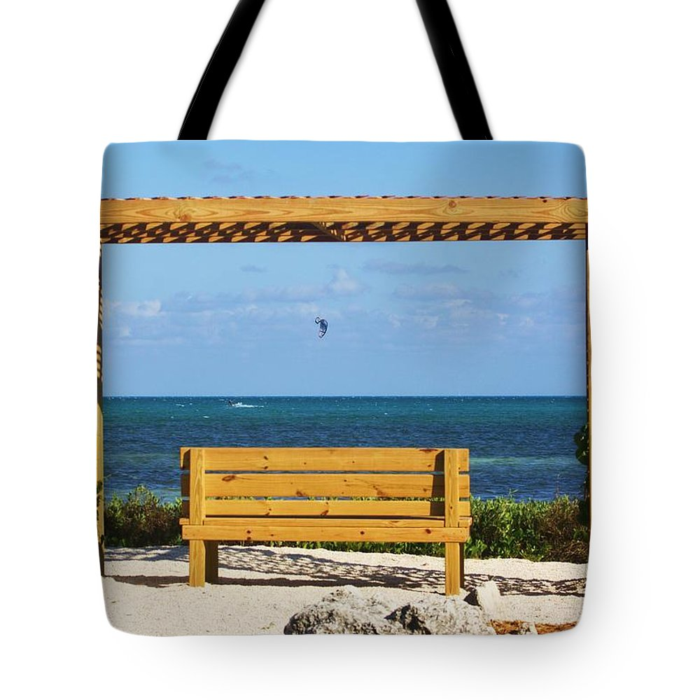 Beach Tote Bag featuring the photograph Beach Bench by Chuck Hicks