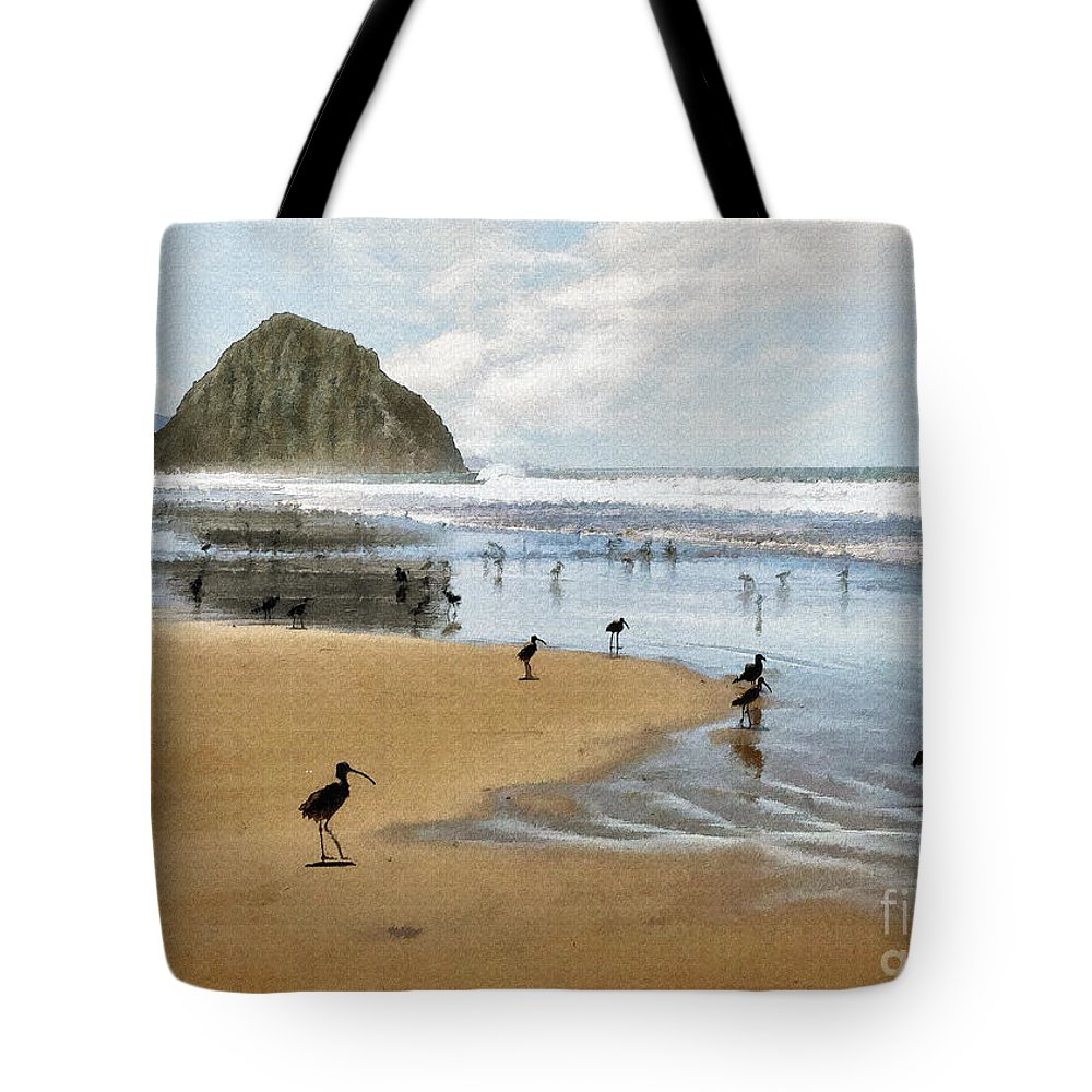 Beach Tote Bag featuring the photograph Beach Birds Impasto by Sharon Foster