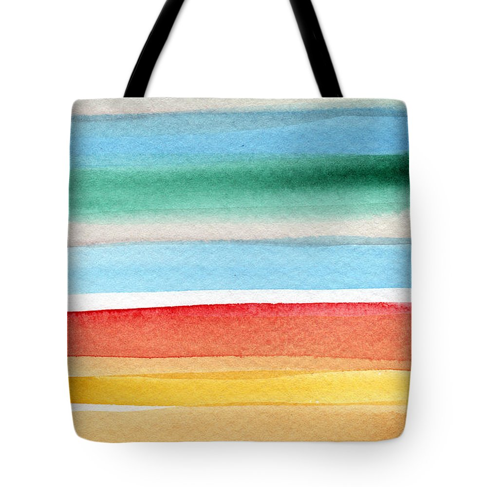 Beach Landscape Painting Tote Bag featuring the painting Beach Blanket- colorful abstract painting by Linda Woods