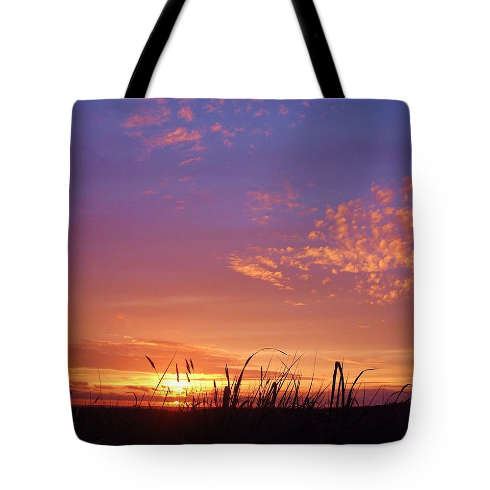 Beach Grass Gearhart Oregon Sunset Pacific Ocean Sand Dusk Purple Orange Clouds Photo Photograph Image Print Coast Surf Color Shadow Tote Bag featuring the photograph Beach Grass At Gearhart by Scott Carda