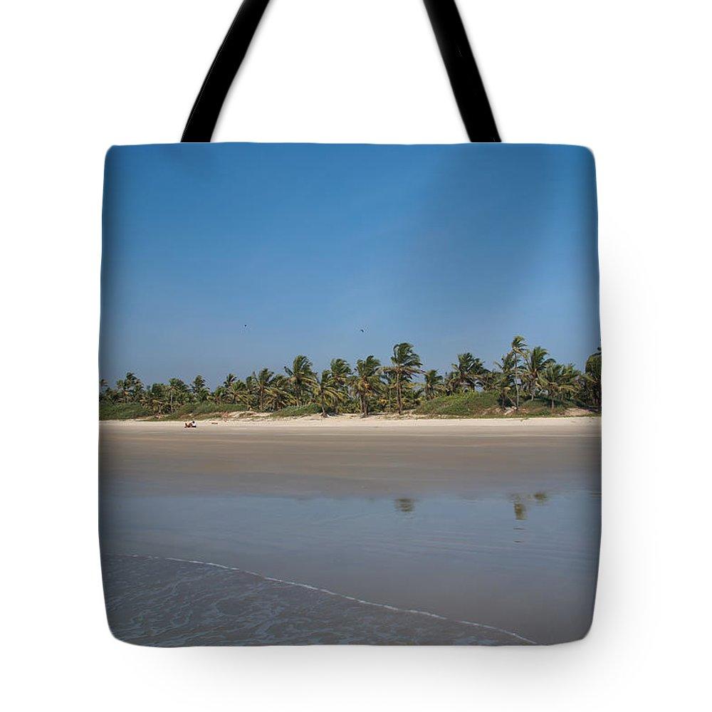 Arabian Sea Tote Bag featuring the digital art Beach In Goa by Carol Ailles