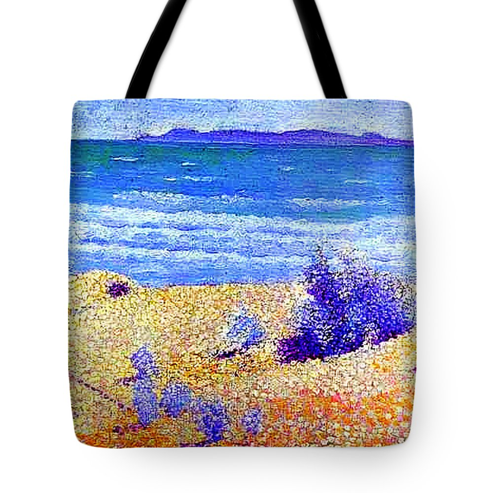 Beach On The Mediterranian Tote Bag featuring the painting Beach On The Mediterranian by MotionAge Designs
