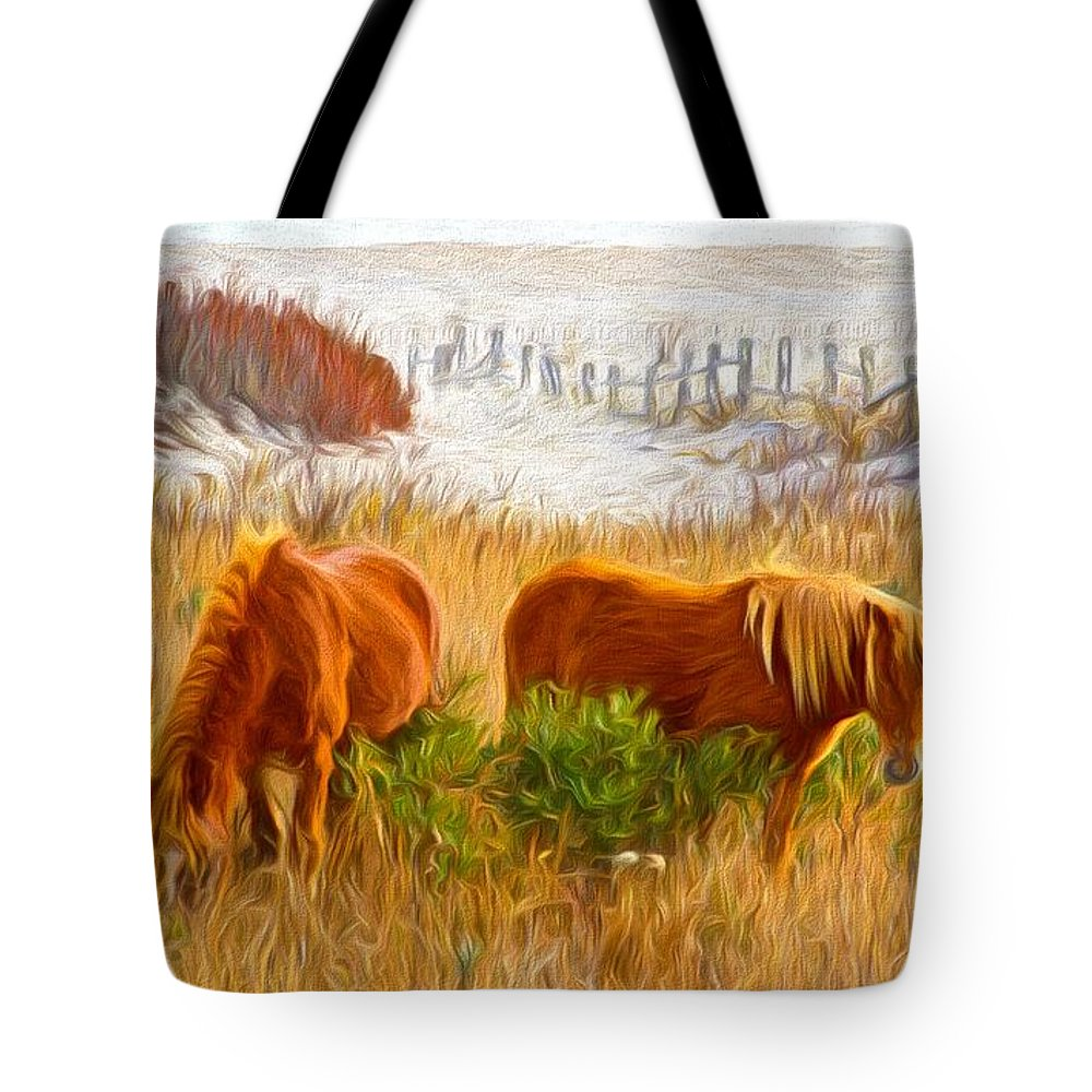 Chincoteague Ponies Tote Bag featuring the photograph Beach Ponies by Alice Gipson