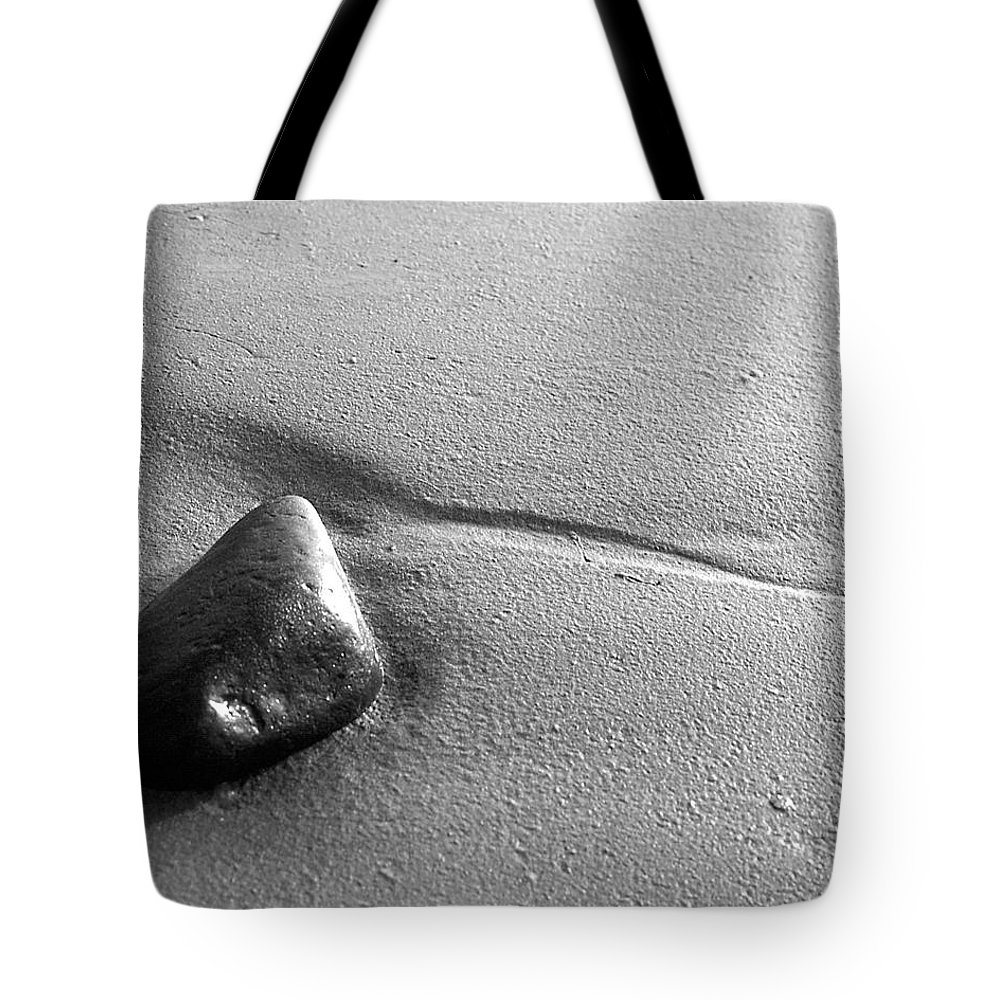 Black And White Tote Bag featuring the photograph Beach Rock by Jeff Brunton
