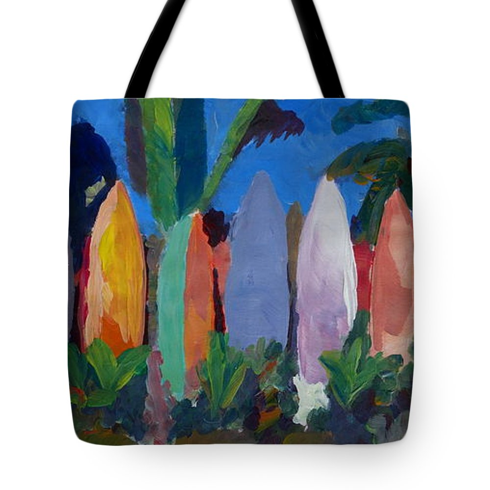 Surf Wall Tote Bag featuring the painting Beach Scene With Wall Of Surf Boards Hawaii I by M Bleichner