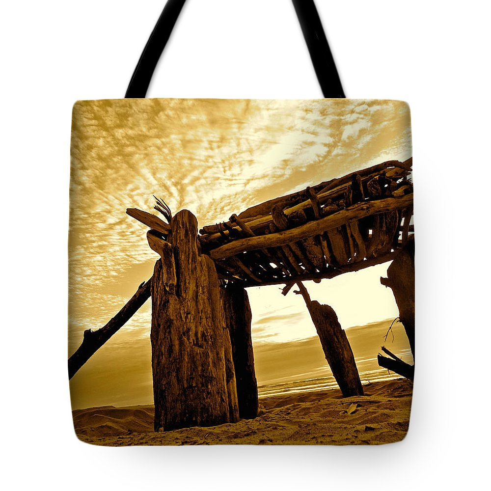 Pacific Ocean Tote Bag featuring the photograph Beach Shed by Gary Olsen-Hasek