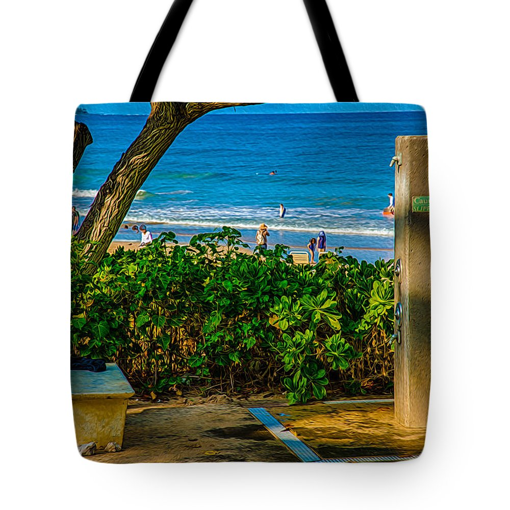 Abstract Tote Bag featuring the painting Beach Shower by Omaste Witkowski