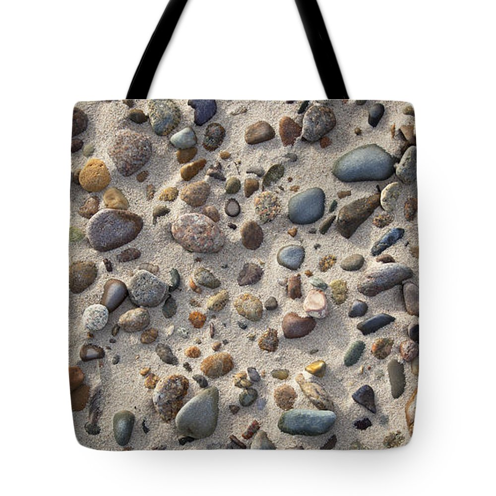 Sandy Neck Tote Bag featuring the photograph Beach Stones by Charles Harden
