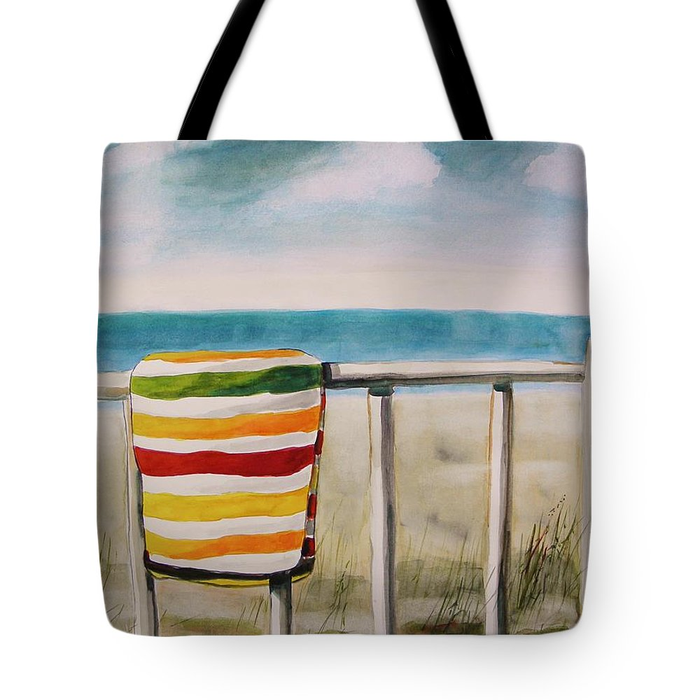 Striped Tote Bag featuring the painting Beach Towel by John Williams