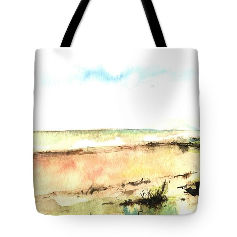 Ink Drawing Tote Bag featuring the painting Beach View by Karina Plachetka