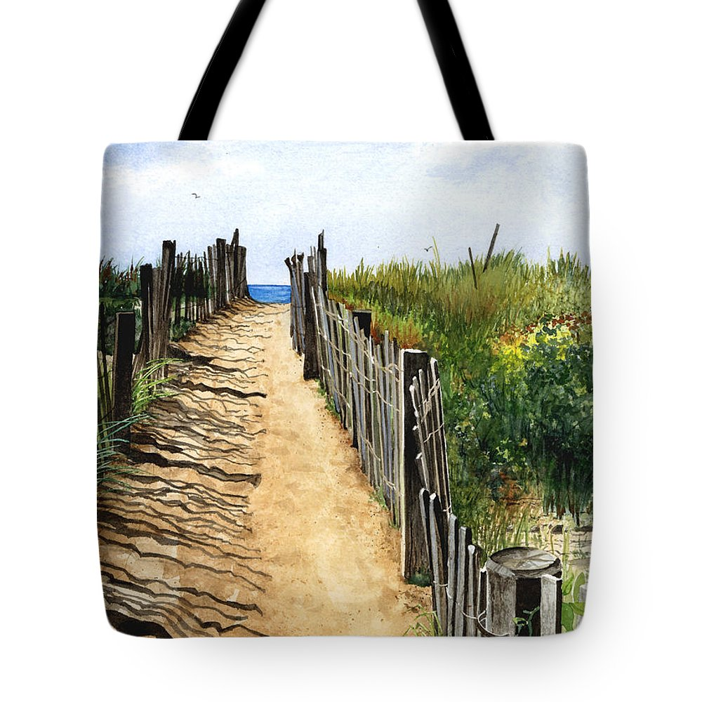 Water Color Paintings Tote Bag featuring the painting Beach Walk by Barbara Jewell