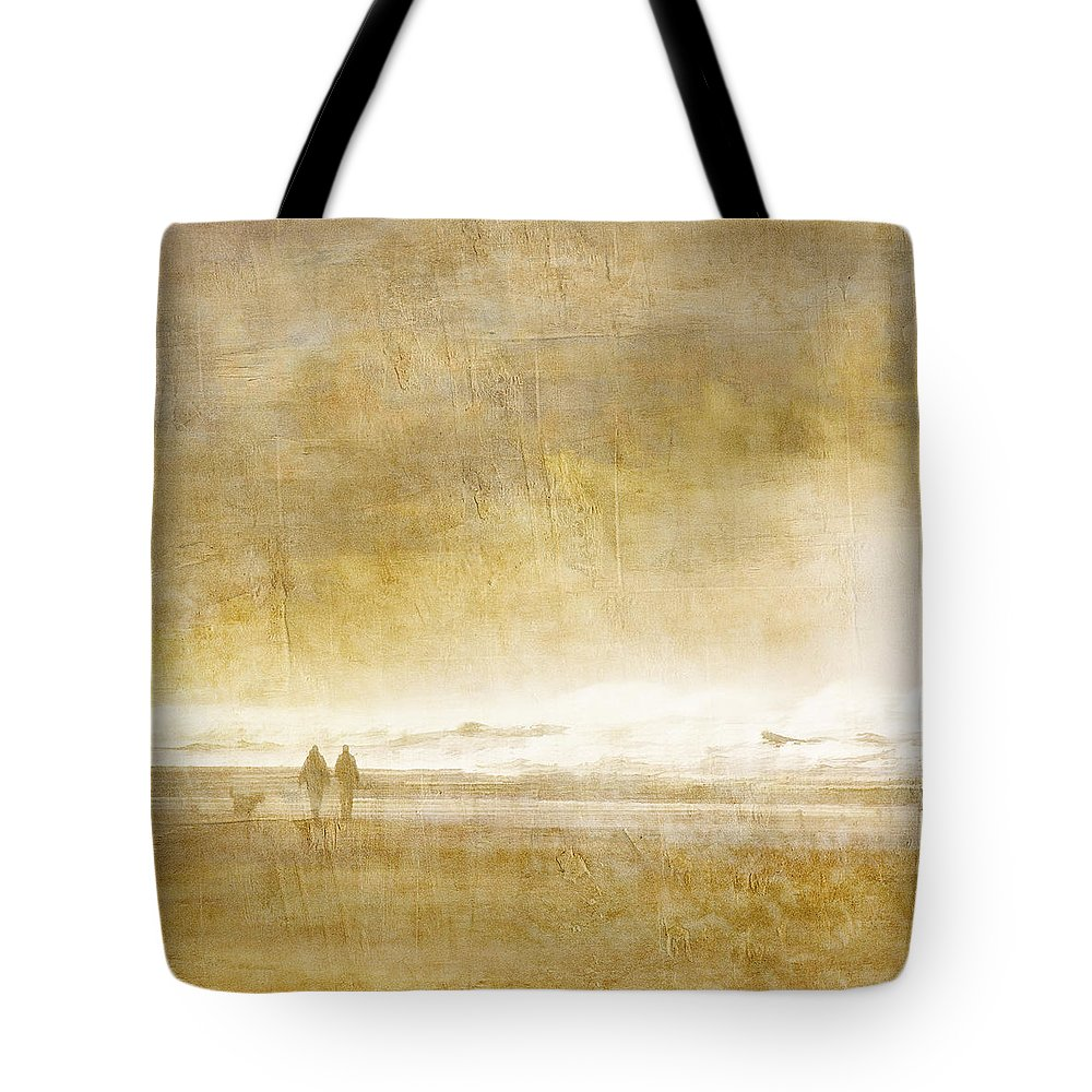 Walk Tote Bag featuring the photograph Beach Walk Square by Carol Leigh