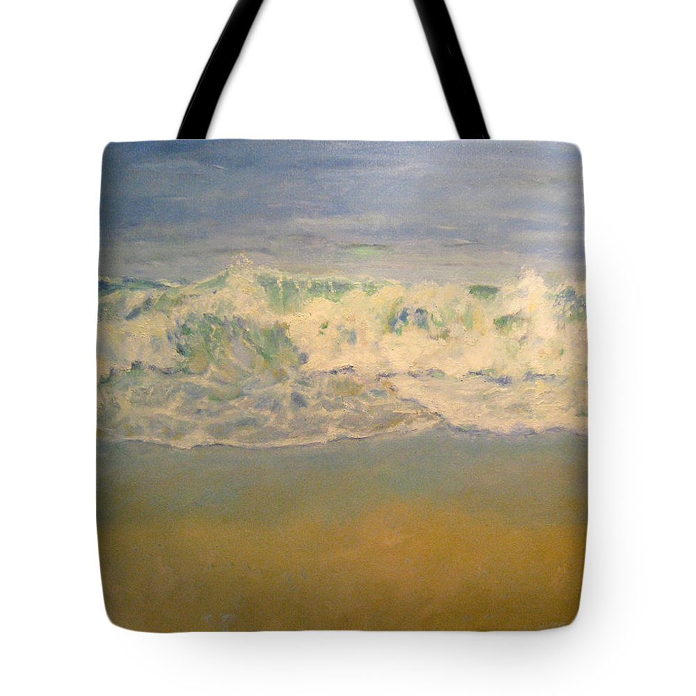 Landscape Tote Bag featuring the painting Beach Waves by Sarah Parks