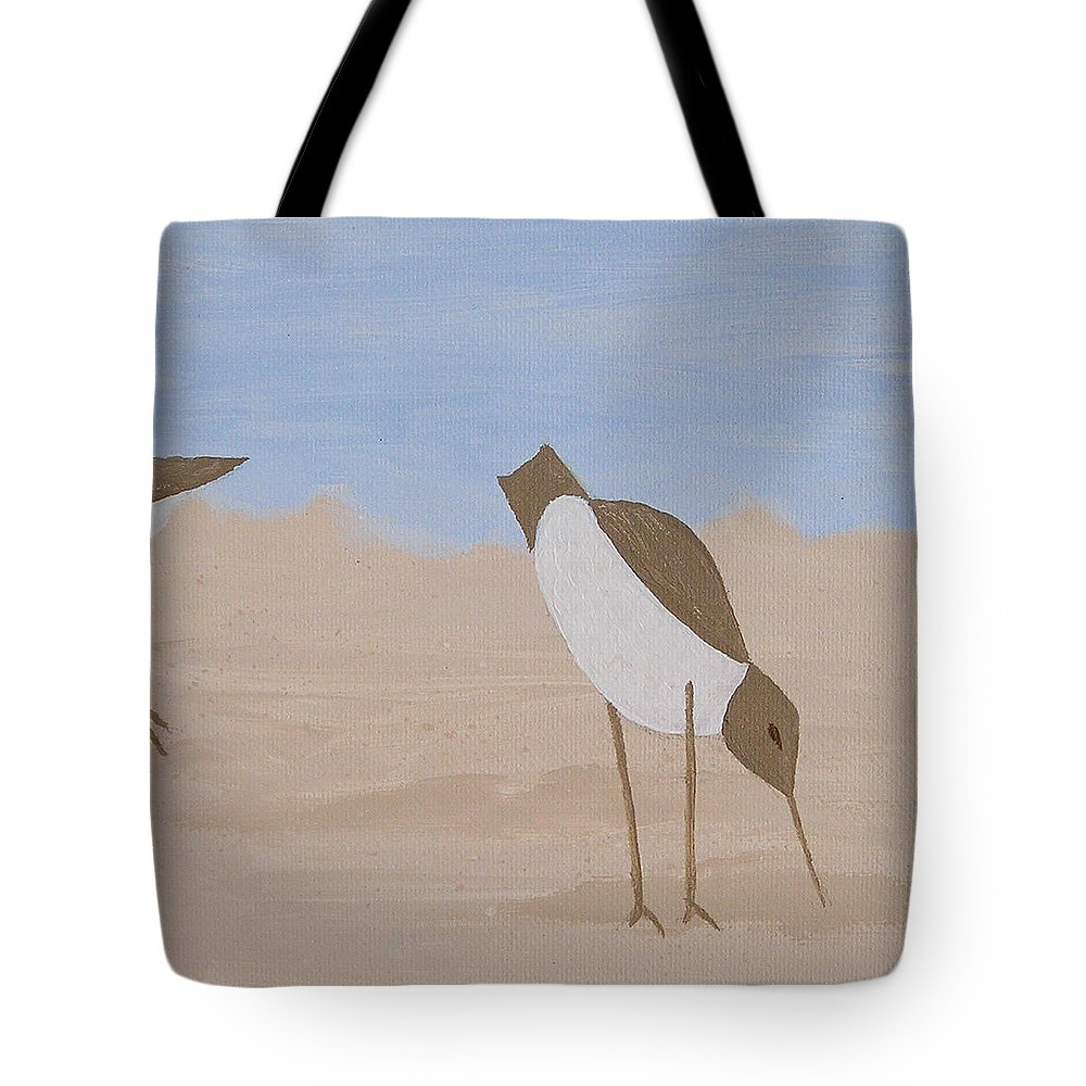 Birds Tote Bag featuring the painting Middle - Beachcombers Trio by Debbie Kiewiet