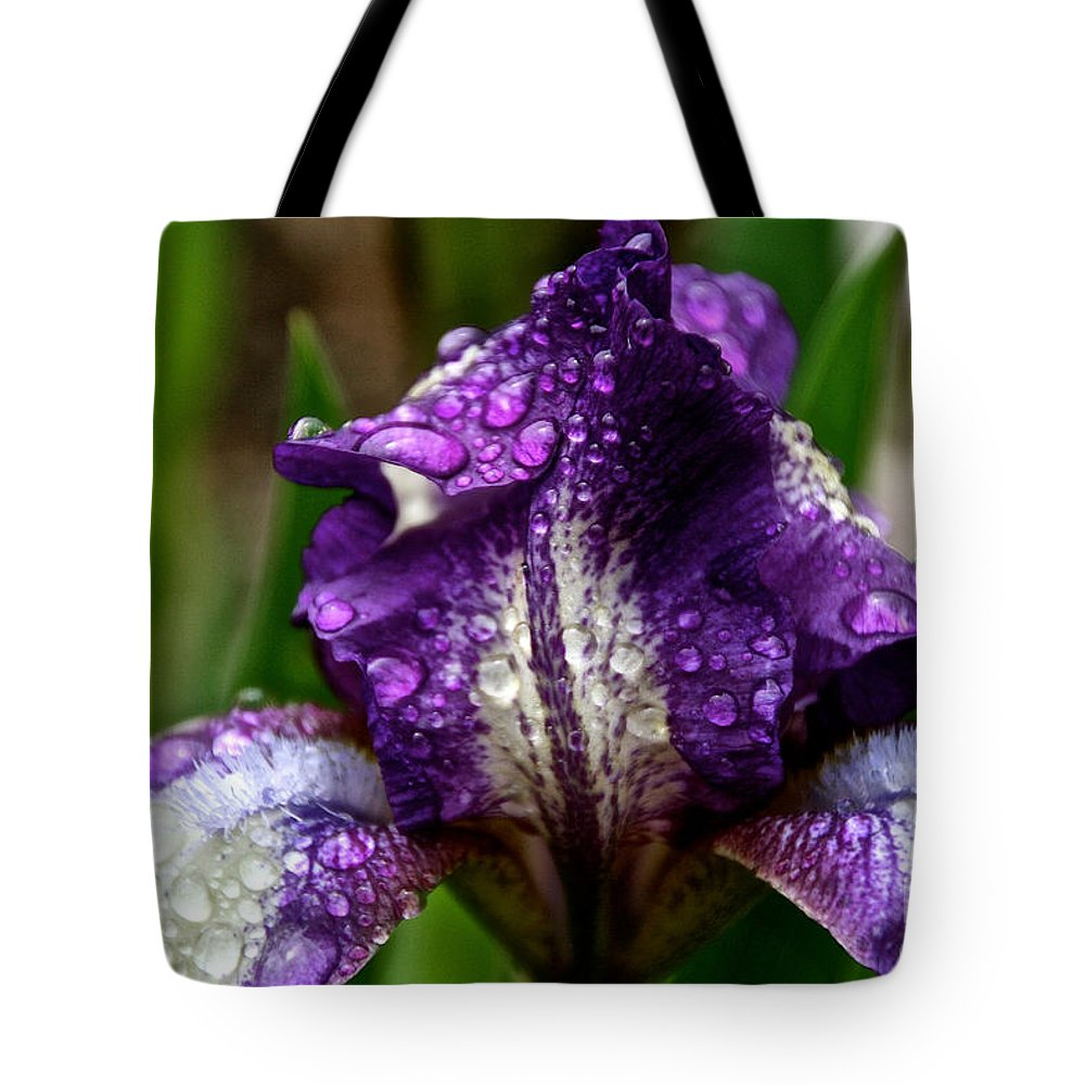 Flower Tote Bag featuring the photograph Beaded Iris by Susan Herber