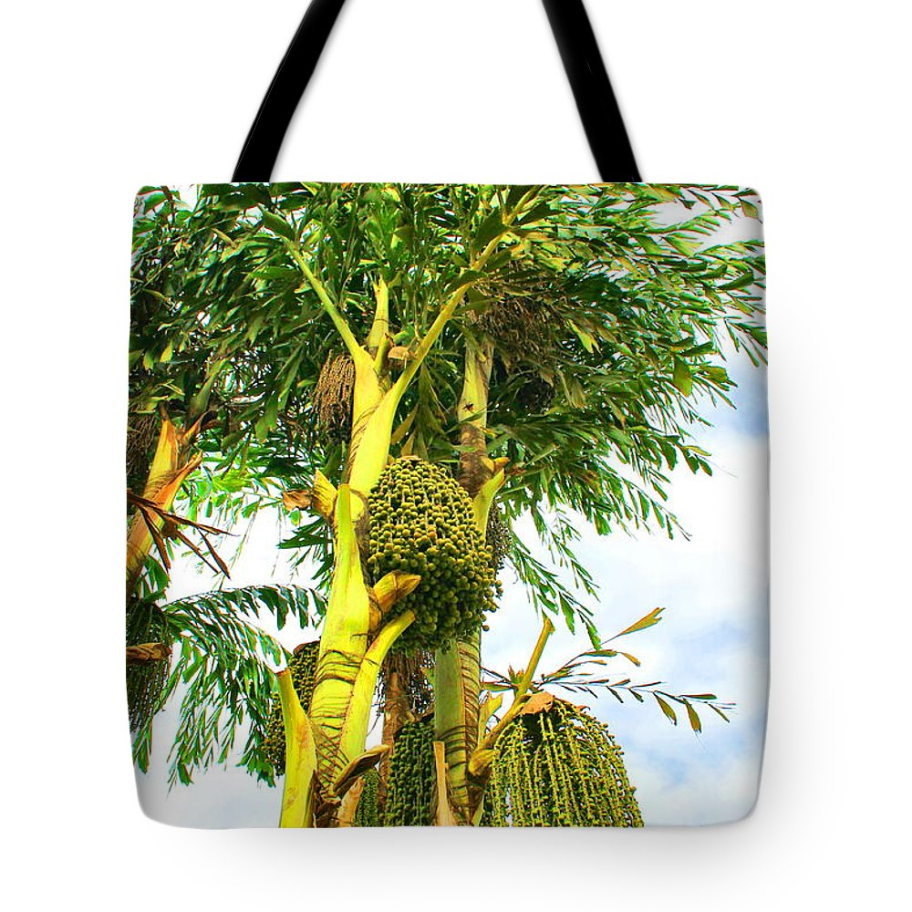 Palm Tree Tote Bag featuring the photograph Beaded Palm by Debbie Levene