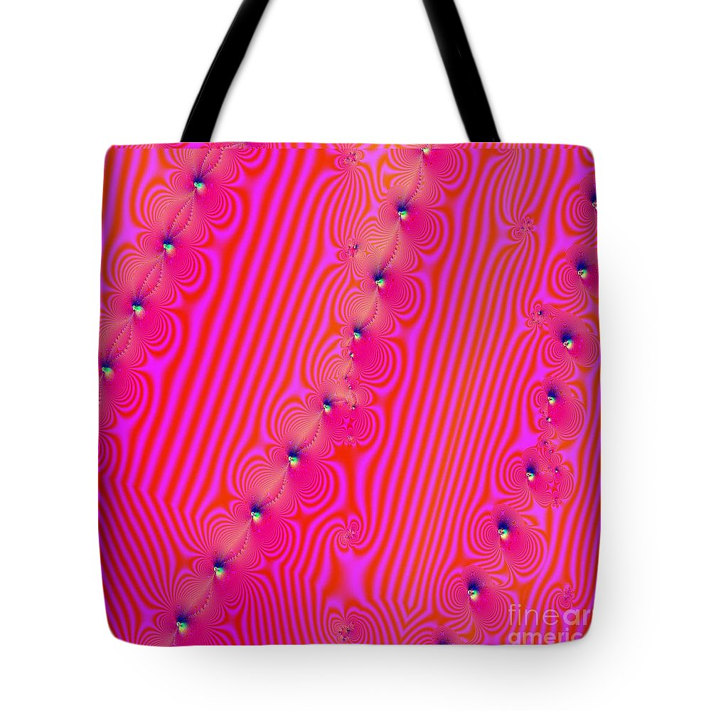 Fractal Tote Bag featuring the digital art Beaded Pink by Luther Fine Art