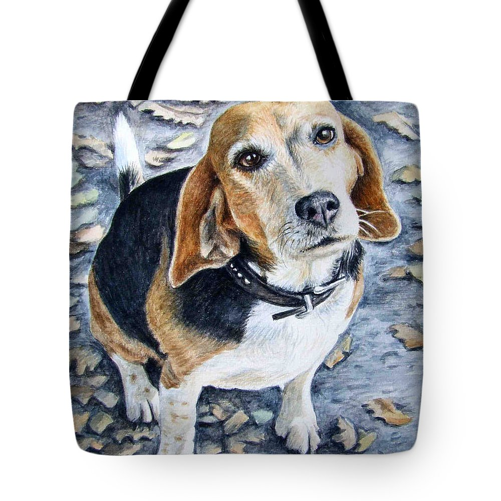 Dog Tote Bag featuring the painting Beagle In Autumn by Nicole Zeug