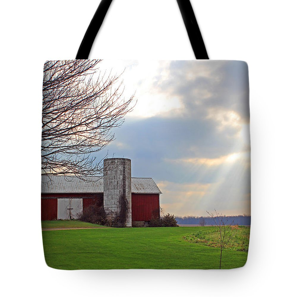 Barns Tote Bag featuring the photograph Beam From Above by Jennifer Robin