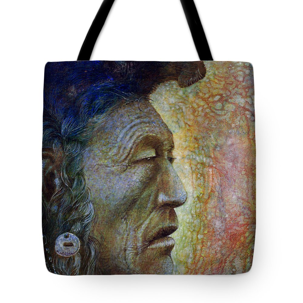 Bear Bull Tote Bag featuring the painting Bear Bull Shaman by Otto Rapp