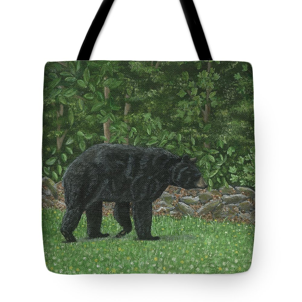 Bear Tote Bag featuring the painting Bear In Field Of Hawkweed by Lucinda V VanVleck