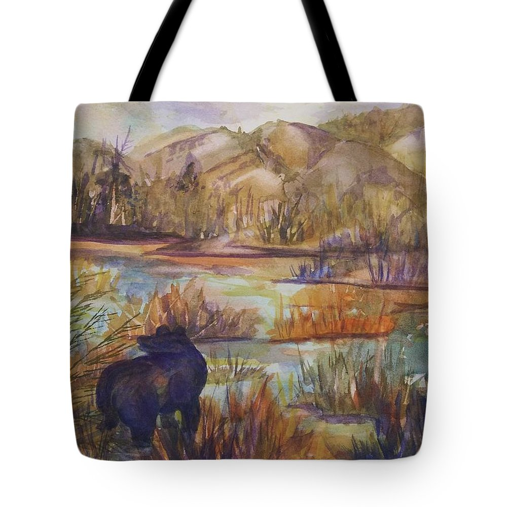 Black Bear Tote Bag featuring the painting Bear In The Slough by Ellen Levinson